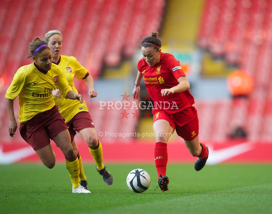 LIVERPOOL, ENGLAND - Friday, April 26, 2013: Liverpool's Lucy Bronze in action against Arsenal during the FA Women's Cup Semi-Final match at Anfield. (Pic by David Rawcliffe/Propaganda)