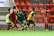 Jay Simpson of Leyton Orient (27) goes close with an effort on goal during the Johnstone's Paint Trophy match at the Matchroom Stadium London,<br /> Picture by David Horn/Focus Images Ltd +44 7545 970036<br /> 11/11/2014