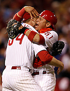 2010.10.06 REDS SPORTS : The Philadelphia Phillies starter Roy Halladay celebrates with catcher Carlos Ruiz after pitching a no hitter against the Cincinnati Reds in the first game of their NLDS playoff game at Citizens Bank Park in the  Philadelphia  Wednesday October 6, 2010. The Enquirer/Jeff Swinger