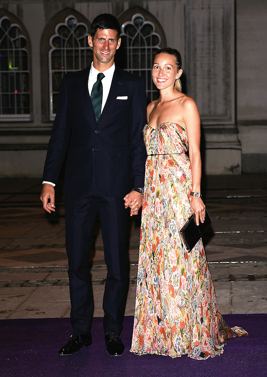 Novak Djokovic and Jelena Djokovic attend the 2015  Wimbledon Champions Dinner at The Guildhall, Gresham Street, London on Sunday 12 July 2015