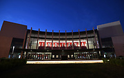 General overall view of Simon Skjodt Assembly Hall on the campus of the University of Indiana in Bloomington, Ind., Thursday, June 13, 2018. The 17,222-seat arena is the home of the Indiana Hoosiers men's basketball and women's basketball teams. It opened in 1971, replacing the current Gladstein Fieldhouse.[8] The court is named after Branch McCracken, the men's basketball coach who led the school to its first two NCAA National Championships in 1940 and 1953.