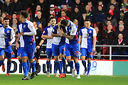 Blackburn Rovers defender Grant Hanley celebrates with team mates after his goal during the Sky Bet Championship match between Bristol City and Blackburn Rovers at Ashton Gate, Bristol, England on 5 December 2015. Photo by Jemma Phillips.