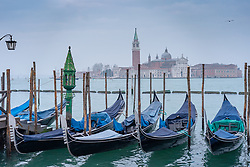 General views of gondolas and the Church of the Santissimo Redentore in the distance in Venice. From a series of travel photos in Italy. Photo date: Sunday, February 10, 2019. Photo credit should read: Richard Gray/EMPICS