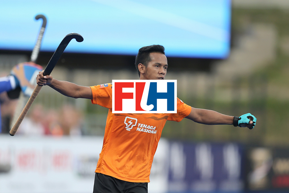 LONDON, ENGLAND - JUNE 25:  Faizal Saari of Malaysia celebrates scoring their teams first goal  during the 3rd/4th place match between Malaysia and England on day nine of the Hero Hockey World League Semi-Final at Lee Valley Hockey and Tennis Centre on June 25, 2017 in London, England.  (Photo by Alex Morton/Getty Images)