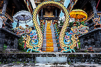 Pura Melanting Temple: A low angle view of the exotic and intricately decorated Balinese Hindu Pura Melanting Temple, Bali Indonesia.