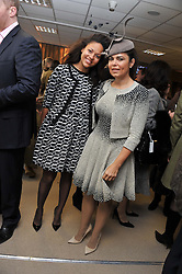 Left to right, RACHEL BARRETT and DANIELLA ISSA HELAYEL at the Hennessy Gold Cup at Newbury Racecourse, Berkshire on 26th November 2011.