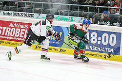 12.12.2014, Curt Fenzel Stadion, Augsburg, GER, DEL, Augsburger Panther vs Koelner Haie, 26. Runde, im Bild l-r: im Zweikampf, Aktion, mit Daniel Tjaernqvist #34 (Koelner Haie) und Louie Caporusso #23 (Augsburger Panther) // during Germans DEL Icehockey League 26th round match between Augsburger Panther vs Koelner Haie at the Curt Fenzel Stadion in Augsburg, Germany on 2014/12/12. EXPA Pictures © 2014, PhotoCredit: EXPA/ Eibner-Pressefoto/ Kolbert<br /> <br /> *****ATTENTION - OUT of GER*****