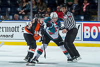 KELOWNA, CANADA - JANUARY 30: Jaeger White #36 of the Medicine Hat Tigers faces off against Kyle Topping #24 of the Kelowna Rockets on January 30, 2017 at Prospera Place in Kelowna, British Columbia, Canada.  (Photo by Marissa Baecker/Shoot the Breeze)  *** Local Caption ***
