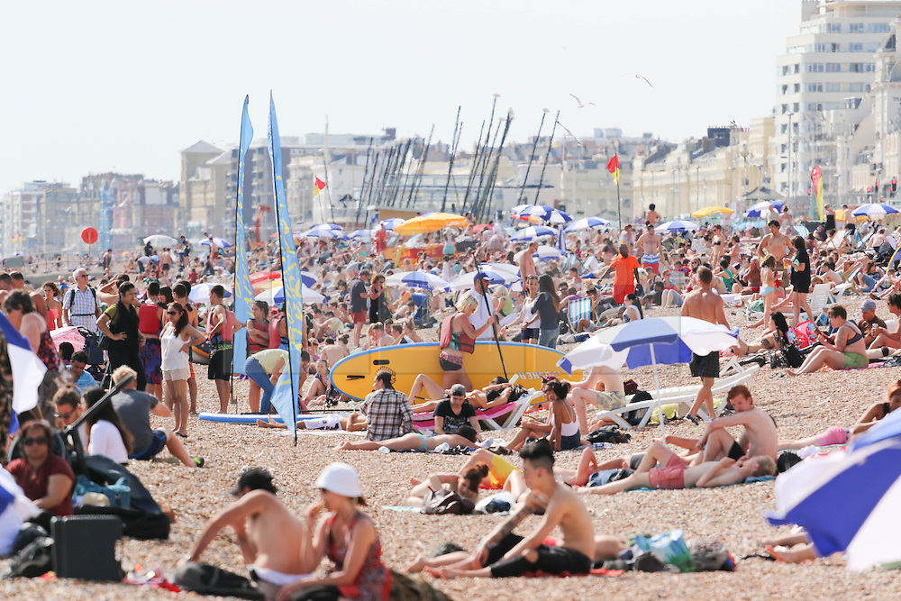 © Licensed to London News Pictures. 17/07/2014. Brighton, UK. People relaxing and sunbathing on Brighton beach during the hottest day of the year so far. Temperatures in parts of the south east are expected to hit 28C degrees today. Photo credit : Hugo Michiels/LNP