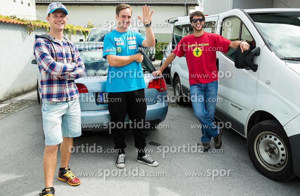 Matija Grasic, Rok Perko and Andrej Jerman at departure of Slovenian Men Ski Team to training camp in Argentina and Chile on August 21, 2014 in SZS, Ljubljana, Slovenia. Photo by Vid Ponikvar / Sportida.com