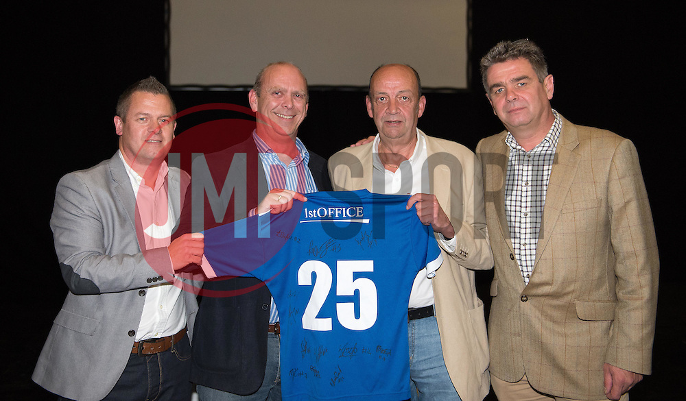 Andrew James and Tom Purves of Bristol Academy sponsors, 1st Office, receive a signed shirt from club Commercial Director Lee Sawyer and Chairman Simon Arnold - Photo mandatory by-line: Paul Knight/JMP - Mobile: 07966 386802 - 11/10/2015 - Sport - Football - Bristol - Stoke Gifford Stadium - Bristol Academy WFC End of Season Awards 2015