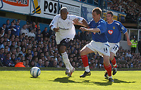 Photo: Alan Crowhurst. Portsmouth v Bolton, Barclays Premiership, 07/05/2005.  Bolton's El-Hadji Diouf tries to get away from Matthew Taylor.