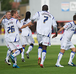 DAGENHAM, ENGLAND - Saturday, August 28, 2010: Tranmere Rovers' Enoch Showunmi celebrates after pulling a goal back to make it 2-1 against Dagenham & Redbridge during the Football League One match at Victoria Road. (Photo by Gareth Davies/Propaganda)