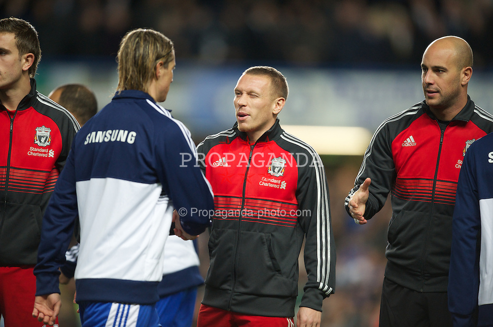 LONDON, ENGLAND - Tuesday, November 29, 2011: Liverpool's Craig Bellamy and Chelsea's Fernando Torres before the Football League Cup Quarter-Final match at Stamford Bridge. (Pic by David Rawcliffe/Propaganda)