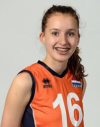 13-05-2014 NED: Selectie Nederlands volleybal team mannen, Arnhem<br /> Op Papendal werd het Nederlands team volleybal seizoen 2014-2015 gepresenteerd / Jasmijn Akse