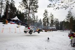 14.02.2015, Karlstad, Karlstad, SWE, FIA, WRC, Schweden Rallye, im Bild Jari-Matti Latvala/Miikka Anttila (Volkswagen Motorsport/Polo R WRC) // during the WRC Sweden Rallye at the Karlstad in Karlstad, Sweden on 2015/02/14. EXPA Pictures © 2015, PhotoCredit: EXPA/ Eibner-Pressefoto/ Bermel<br /> <br /> *****ATTENTION - OUT of GER*****