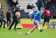 Brighton defender Liam Ridgewell (33) warming up during the The FA Cup match between Hull City and Brighton and Hove Albion at the KC Stadium, Kingston upon Hull, England on 9 January 2016.
