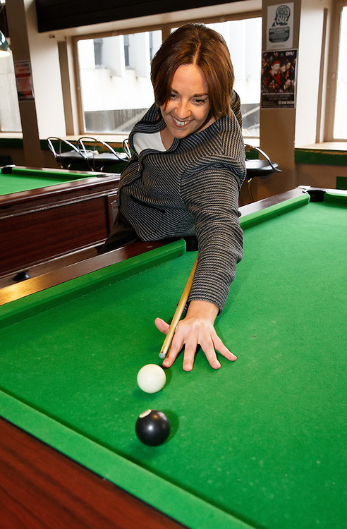 Scottish Labour leader Kezia Dugdale playing pool at Glasgow University.  Picture Robert Perry 11th April 2016<br /> <br /> Must credit photo to Robert Perry<br /> FEE PAYABLE FOR REPRO USE<br /> FEE PAYABLE FOR ALL INTERNET USE<br /> www.robertperry.co.uk<br /> NB -This image is not to be distributed without the prior consent of the copyright holder.<br /> in using this image you agree to abide by terms and conditions as stated in this caption.<br /> All monies payable to Robert Perry<br /> <br /> (PLEASE DO NOT REMOVE THIS CAPTION)<br /> This image is intended for Editorial use (e.g. news). Any commercial or promotional use requires additional clearance. <br /> Copyright 2014 All rights protected.<br /> first use only<br /> contact details<br /> Robert Perry     <br /> 07702 631 477<br /> robertperryphotos@gmail.com<br /> no internet usage without prior consent.         <br /> Robert Perry reserves the right to pursue unauthorised use of this image . If you violate my intellectual property you may be liable for  damages, loss of income, and profits you derive from the use of this image.