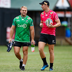 Cullen Collopy with Robert du Preez of the Cell C Sharks during The Cell C Sharks training session at Jonsson Kings Park Stadium in Durban, South Africa. 2nd April 2019 (Photo by Steve Haag)