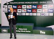 Maglione Julio FINA President<br /> FINA/NVC Diving World Series 2016 Dubai<br /> Hamdan Sport Complex -Dubai United Arab Emirates U.A.E. UAE<br /> March 17 -19 2016<br /> Day 2 March 17th<br /> Photo G.Scala/Insidefoto/Deepbluemedia