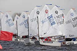 08_0140_OPTI_EASTER © Sander van der Borch BRAASSEMMERMEER THE NETHERLANDS, 21 March 2008. 23rd Magic Marine International Easter Optimist Regatta 2008. 214 Opti sailors from around Europe and the USA race on a small Dutch lake.