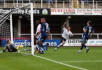 Photo: Mark Stephenson.<br /> Hereford United v Brentford. Coca Cola League 2. 06/10/2007.Hereford's Luke Webb celebrates his 2 ed goal in the first half for 2-0
