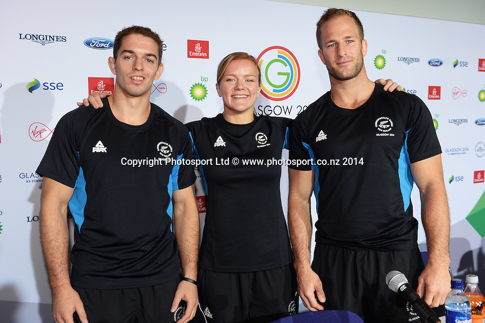 Ivica Pavlinic, Moira De Villiers and Ryan Dill-Russell pose for a picture during a Judo press conference at the Main Press Centre. Glasgow Commonwealth Games 2014. Scotland. Tuesday 22 July 2014. Photo: Andrew Cornaga/www.Photosport.co.nz