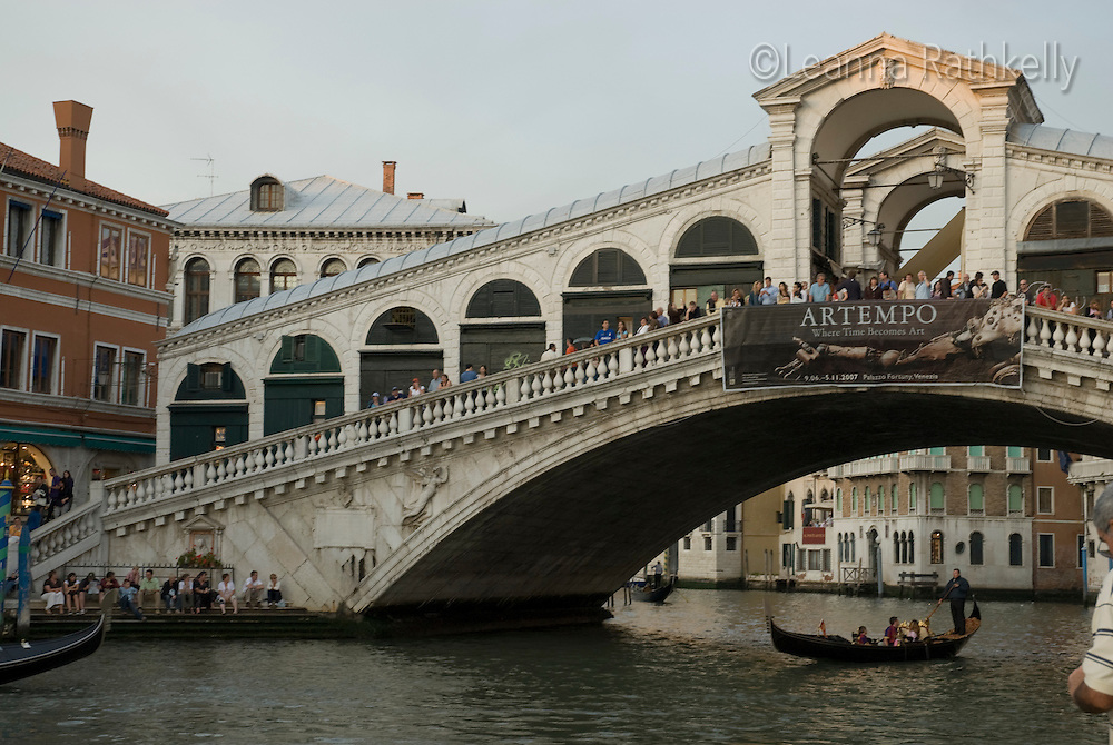 The Rialto Bridge, a tourist attraction in Venice, Italy was built in just three years, between 1588 and 1591.