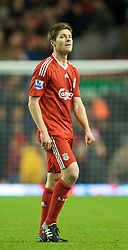 LIVERPOOL, ENGLAND - Saturday, November 22, 2008: Liverpool's Xabi Alonso looks dejected after his side's 0-0 draw with Fulham during the Premiership match at Anfield. (Photo by David Rawcliffe/Propaganda)