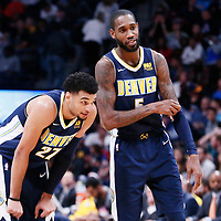 11 November 2017: Denver Nuggets guard Jamal Murray (27) is seen next to Denver Nuggets guard Will Barton (5) during the Denver Nuggets 125-107 victory over the Orlando Magic, at the Pepsi Center, Denver, Colorado, USA.