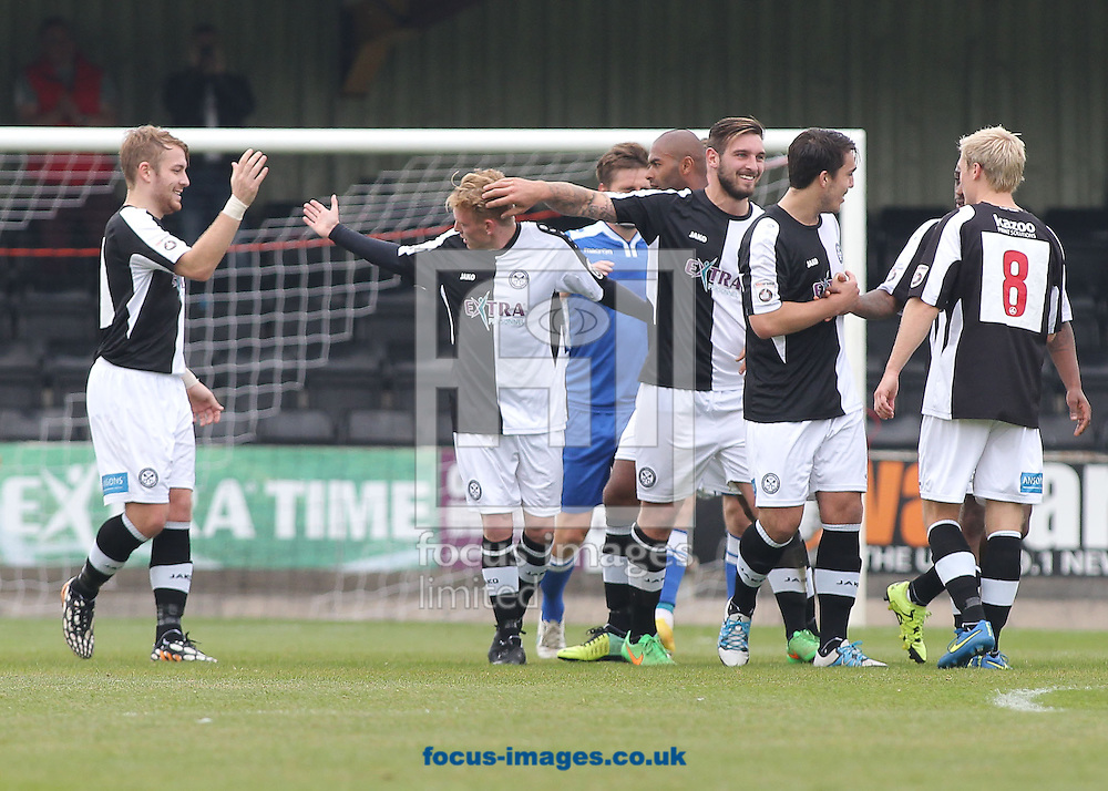 Sean Williams (2nd left) of Hednesford Town celebrates with his team mates after scoring the first goal against Lowestoft Town during the National League North match at Keys Park, Hednesford.<br /> Picture by Michael Sedgwick/Focus Images Ltd +44 7900 363072<br /> 03/10/2015