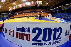 Arena during practice session of Slovenia National Handball team during Main Round of 10th EHF European Handball Championship Serbia 2012, on January 21, 2012 in Spens Sports Center, Novi Sad, Serbia. (Photo By Vid Ponikvar / Sportida.com)