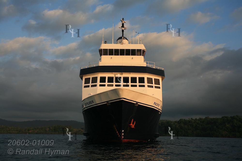 Cruise West's ship, Pacific Explorer, anchors at Drake Bay along Pacific Ocean's Osa Peninsula, Costa Rica.