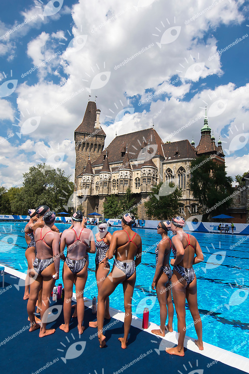 United States team during training <br /> Synchronised swimming , Synchro<br /> 12/07/2017 <br /> XVII FINA World Championships Aquatics<br /> City Park - Varosliget Lake<br /> Budapest Hungary <br /> Photo Andrea Staccioli/Deepbluemedia/Insidefoto