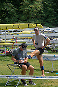 Lucerne, SWITZERLAND, 12th July 2018, Friday  FISA World Cup series, No.3, Lake Rotsee, Lucerne,  Photographer Karon PHILLIPS. NZL M1X, Mahe DRYSDALE and Coach, Calvin FERGUSON,