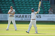 50 for Adam Lyth - Yorkshire's Adam Lyth raises his bat in the air to celebrate scoring his half century during the Specsavers County Champ Div 1 match between Somerset County Cricket Club and Yorkshire County Cricket Club at the County Ground, Taunton, United Kingdom on 16 May 2016. Photo by Graham Hunt.