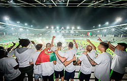 Players of Olimpija celebrate at trophy ceremony after winning during football match between NK Aluminij and NK Olimpija Ljubljana in the Final of Slovenian Football Cup 2017/18, on May 30, 2018 in SRC Stozice, Ljubljana, Slovenia. Photo by Vid Ponikvar / Sportida