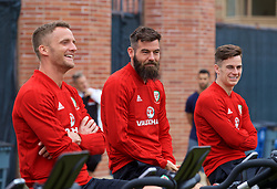 LOS ANGELES, USA - Wednesday, May 23, 2018: Wales' Andy King, Joe Ledley and Tom Lawrence during a training session at UCLA ahead of the International friendly match against Mexico. (Pic by David Rawcliffe/Propaganda)