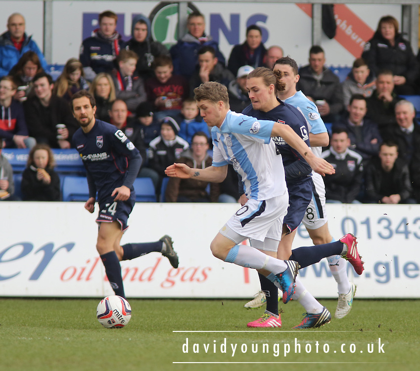Jim McAlister bursts past Ross County's Jackson Irvine - Ross County v Dundee, SPFL Premiership at The Global Energy Stadium<br /> <br />  - &copy; David Young - www.davidyoungphoto.co.uk - email: davidyoungphoto@gmail.com