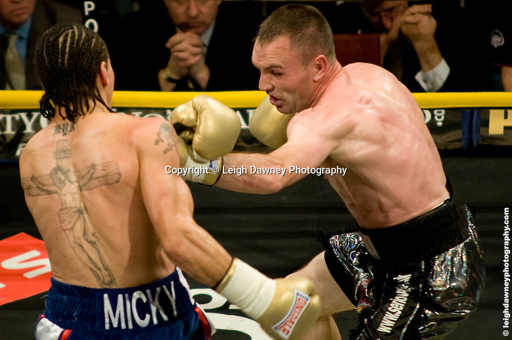 Colin Lynes (black shorts) defeats David Barnes at London Olympia -  Prizefighter Light Welterweights 4th December 2009 Credit: © Leigh Dawney Photography