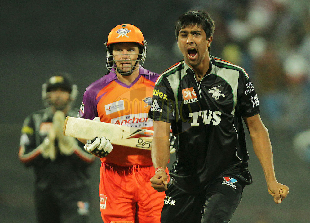 Pune Warriors player Rahul Sharma celebrates after getting a wicket of Brad Hodge of Kochi Tuskers Kerala during  match 10 of the Indian Premier League ( IPL ) Season 4 between the Pune Warriors and the Kochi Tuskers Kerala held at the Dr DY Patil Sports Academy, Mumbai India on the 13th April 2011..Photo by BCCI/SPORTZPICS