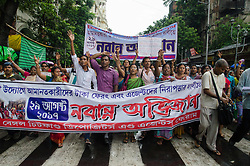 August 29, 2017 - Kolkata, West Bengal, India - Members of All Bengal Chit Fund Depositors' & Agents' Forum walking on a protest rally against Chit fund Scams with their six fold demands on 29th august in Kolkata, West Bengal, India. (Credit Image: © Avijit Ghosh/Pacific Press via ZUMA Wire)