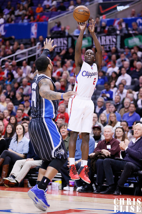 06 January 2014: Los Angeles Clippers point guard Darren Collison (2) takes a jumpshot over Orlando Magic point guard Jameer Nelson (14) during the Los Angeles Clippers 101-81 victory over the Orlando Magic at the Staples Center, Los Angeles, California, USA.
