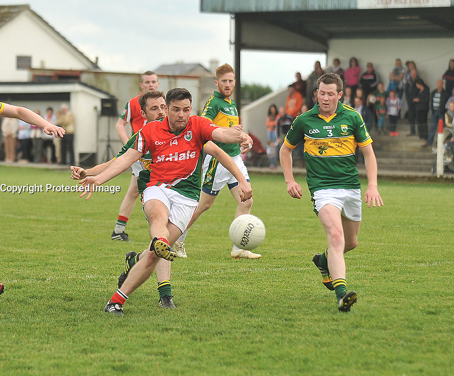 Kilmaine's Brian Maloney gets his shot away with Kingdom's Gaels Conor O'Neill's closing in during Padraig O'Dea Memorial match.<br /> Pic Conor McKeown
