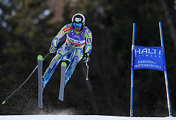 10.02.2011, Kandahar, Garmisch Partenkirchen, GER, FIS Alpin Ski WM 2011, GAP, Herren Abfahrtstraining, im Bild Gasper Markic (SLO) takes to the air competing in the first men's downhill training run on the Kandahar race piste at the 2011 Alpine skiing World Championships, EXPA Pictures © 2011, PhotoCredit: EXPA/ M. Gunn