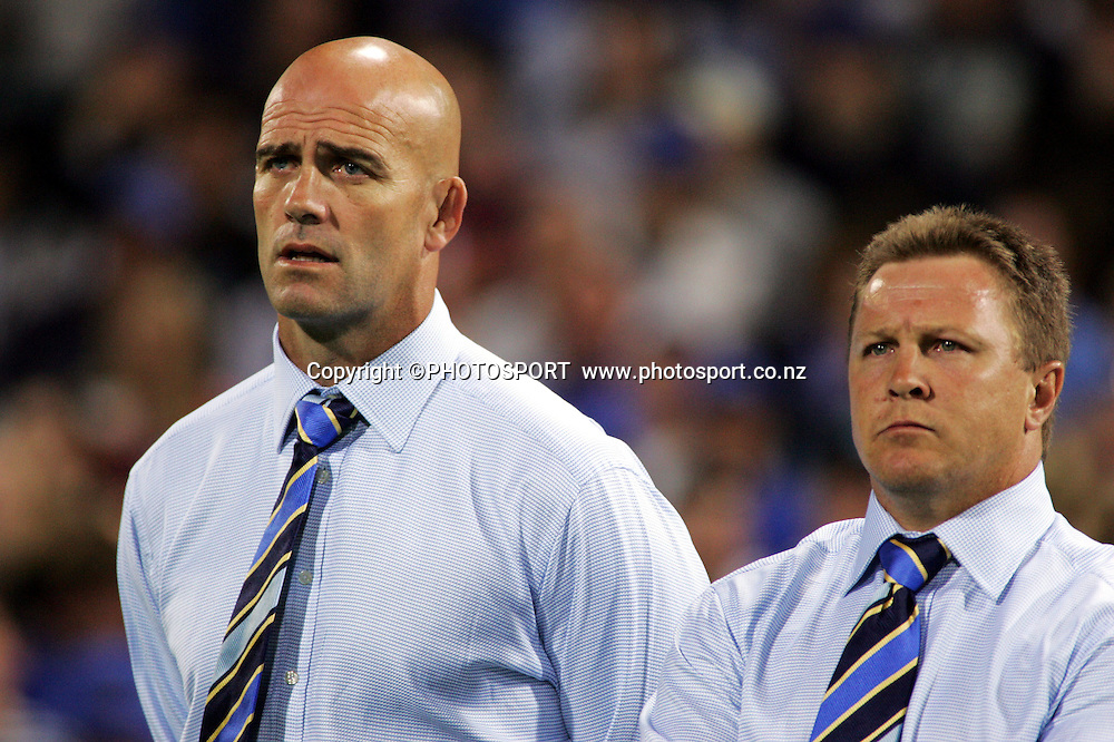 Western Force coach John Mitchell and his assistant John Mulvihill watch on during the 2006 Super 14 rugby union match between the Western Force and the Chiefs at Subiaco Oval, Perth, Western Australia, on Friday 24 February, 2006. The Chiefs won the match 26-9. Photo: Christian Sprogoe/PHOTOSPORT<br />