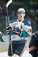 KELOWNA, CANADA, JANUARY 25: Brett Bulmer #19 of the Kelowna Rockets skates on the ice as the Kamloops Blazers visit the Kelowna Rockets on January 25, 2012 at Prospera Place in Kelowna, British Columbia, Canada (Photo by Marissa Baecker/Getty Images) *** Local Caption ***