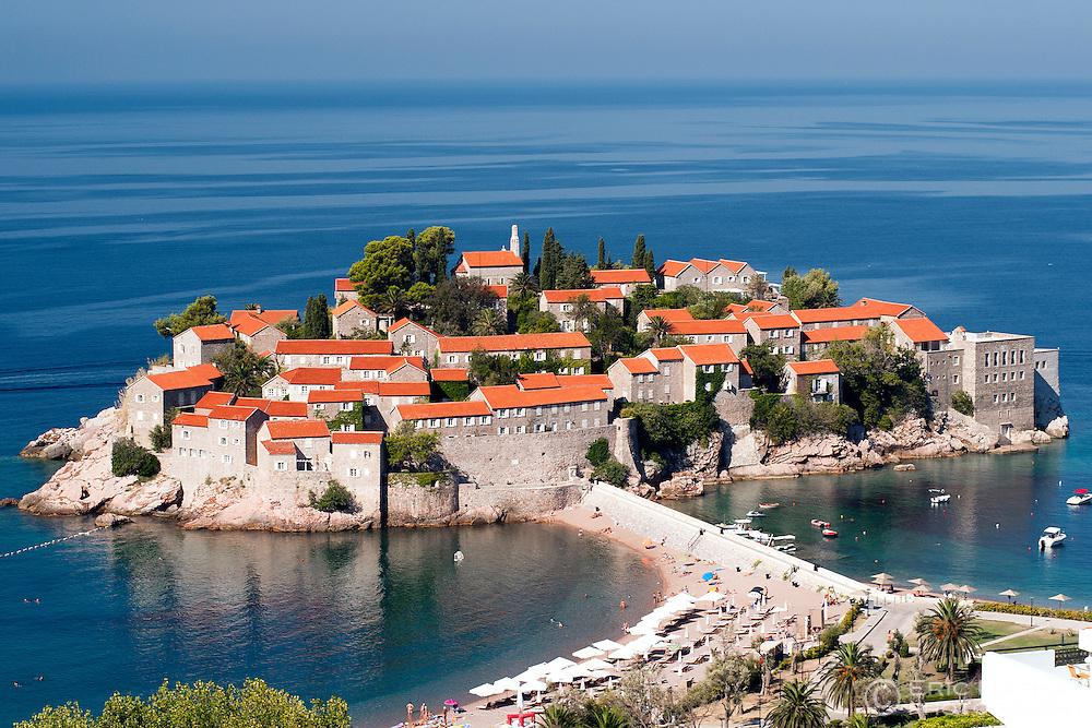 Sveti Stefan (St Stefan) island on the Adriatic coast of Montenegro.
