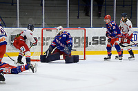 2019-11-27 | Tyringe, Sweden: The puck finds it's way behind Tyringe SoSS (35) Joakim Strandberg during the game in Hockeyettan between Tyringe SoSs and Hanhals Kings at Tyrs Hov ( Photo by: Henrik Eberlund | Swe Press Photo )<br /> <br /> Keywords: Tyringe, Icehockey, Hockeyettan, Tyrs Hov, Tyringe SoSs, Hanhals Kings, Ishockey, TH191127