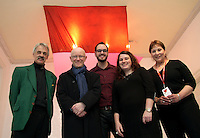 Craig Steven, Chairperson of the Galway Arts Centre, Martin Drury, Arts Director, Arts Council, John J Twomey and Maeve Mulrennan, SYNC Curators, and Lali Morris, Baboro Artistic Director, at the opening of 'SYNC' a Multi-Sensory Exhibition at Galway Arts Centre during Baboró International Arts Festival for Children. The exhibition features new work from three Irish artists, Elmarie Collins, Sarah O'Brien and Daniel Greaney who were mentored by teachers, children and young people at Abalta School, a specialist school for children, young people and families living with autism. ..